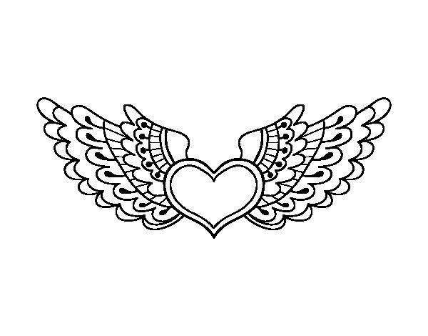 Heart with wings coloring page Coloringcrewcom