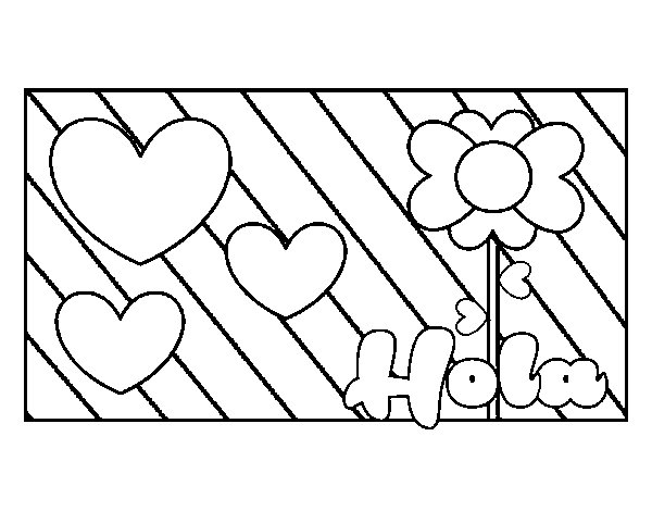 Hello with love coloring page