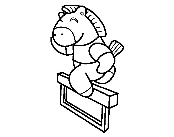 Horse jumping fence coloring page