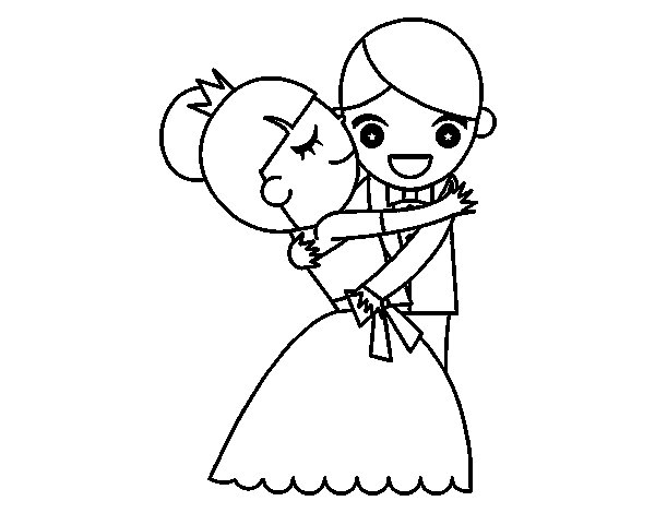 Husband and wife dancing coloring page