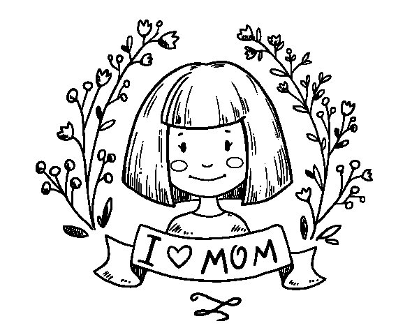 I love mom coloring page