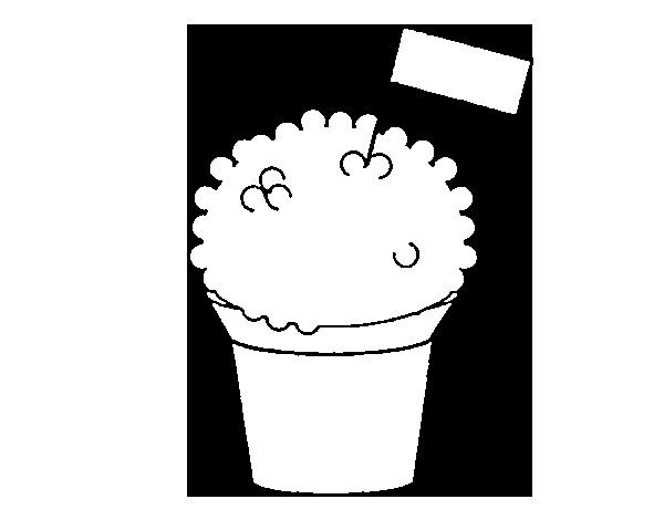 Ice-cream with flag coloring page