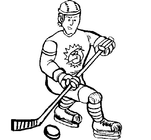 Ice hockey player coloring page