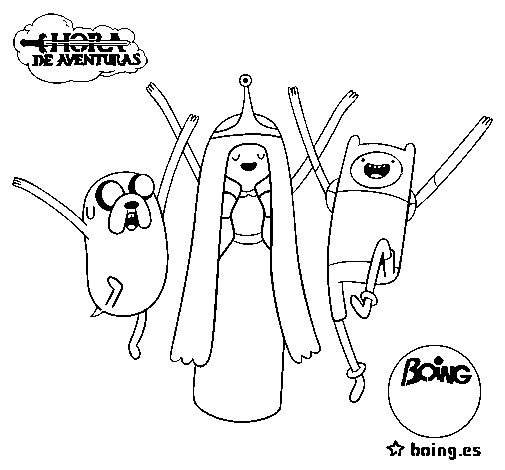 Jake, Princess Bubblegum and Finn coloring page