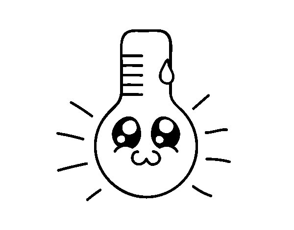 Kawaii thermometer coloring page