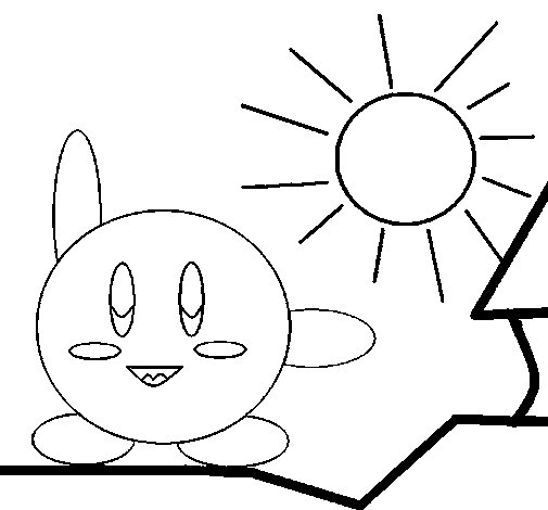 Kirby on a sunny day coloring page