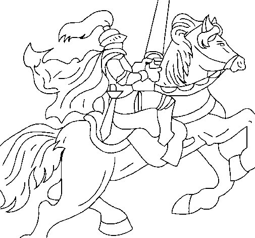 Knight on horseback coloring page