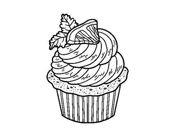 Lemon cupcake coloring page