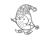 Little bird skiing coloring page