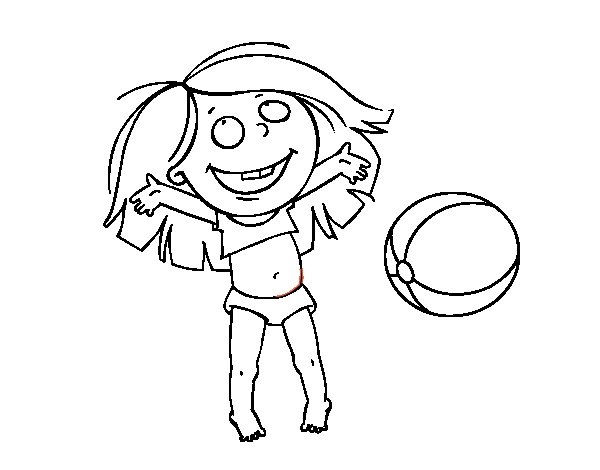 Little Girl With Beach Ball Coloring Page