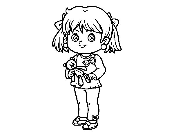 Little girl with teddy bear coloring page