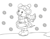 Little rat Sheltered at Christmas coloring page