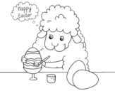 Little sheep coloring easter eggs coloring page