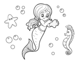 Lovely mermaid coloring page