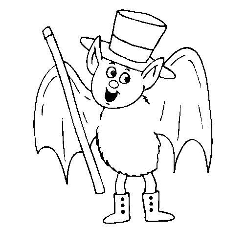 Magician bat coloring page