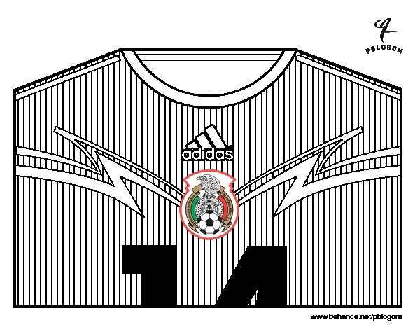 Mexico World Cup 2014 t-shirt coloring page