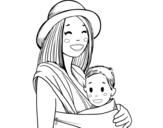 Mom with baby sling coloring page