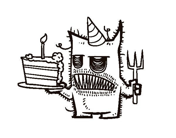 Monster birthday cake coloring page