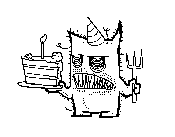 Monster birthday cake coloring page  Coloringcrewcom