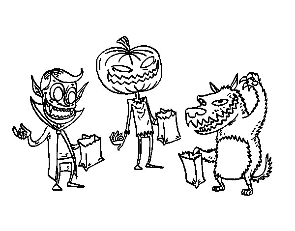 Monsters Trick-or-treating coloring page