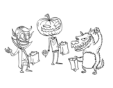 Dibujo de Monsters Trick-or-treating