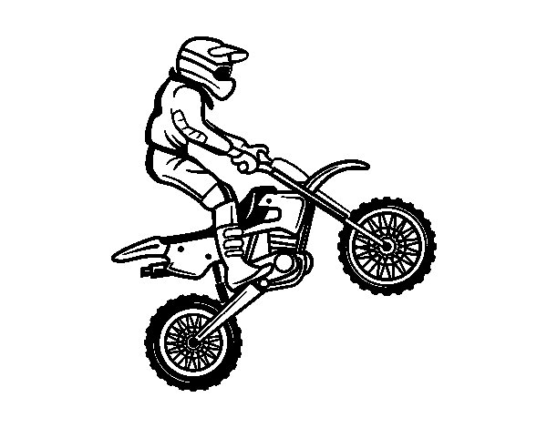 Motorcycle trial coloring page