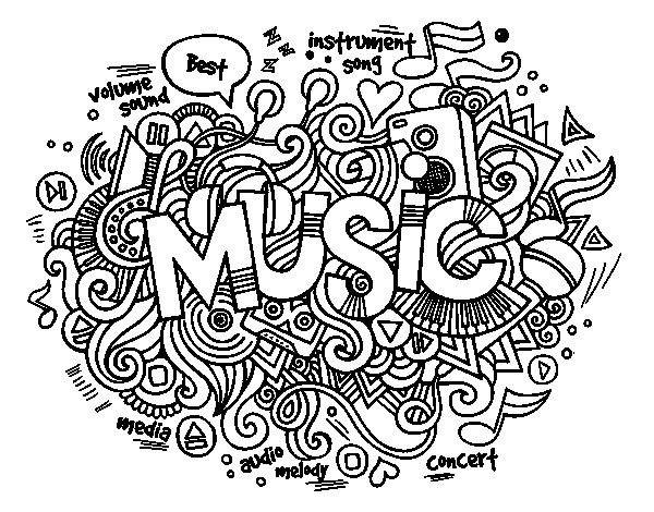 Musical collage coloring page Coloringcrewcom