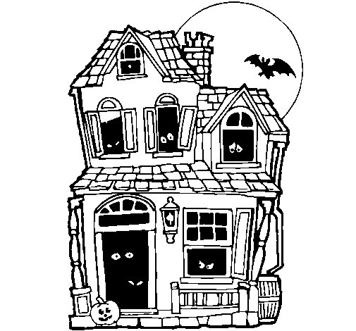 Mysterious house II coloring page