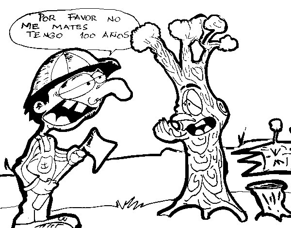 NO to deforestation coloring page