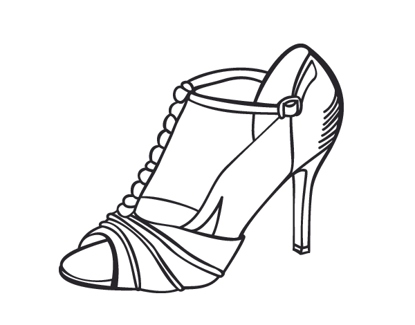 Shoe Coloring Page Party Shoe Coloring Page