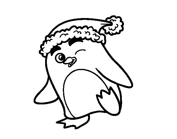 Penguin with Christmas hat coloring page