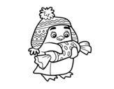 Penguin with sweet coloring page