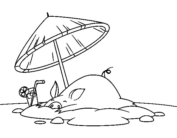 Piglet on the beach coloring page