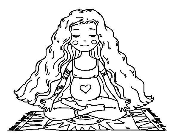 Pregnant practicing yoga coloring page