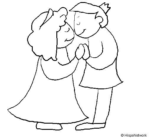 Prince and princess kissing coloring page
