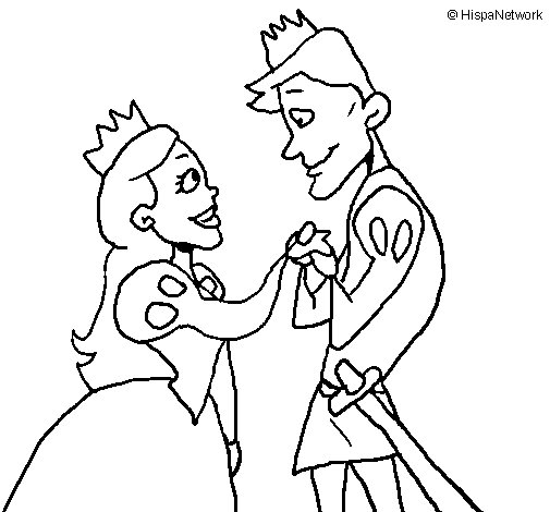Prince and princess looking at each other coloring page