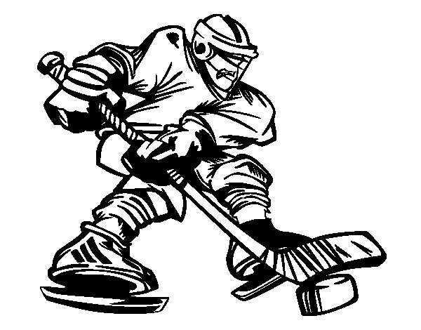 Professional hockey player coloring page