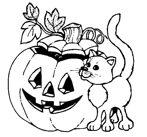 Pumpkin and cat coloring page