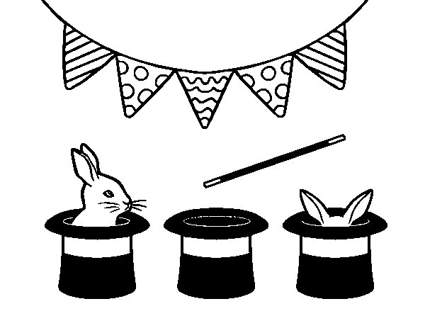 Rabbit and top hat coloring page