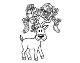 Reindeer with Christmas gifts coloring page