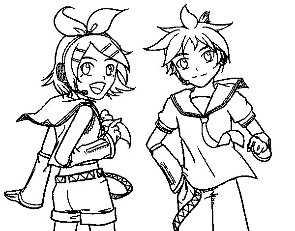 Rin y Len Kagamine Vocaloid coloring page