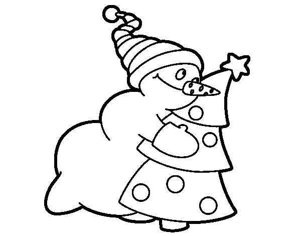 Snowman hugging tree coloring page