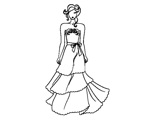 Strapless wedding dress coloring page