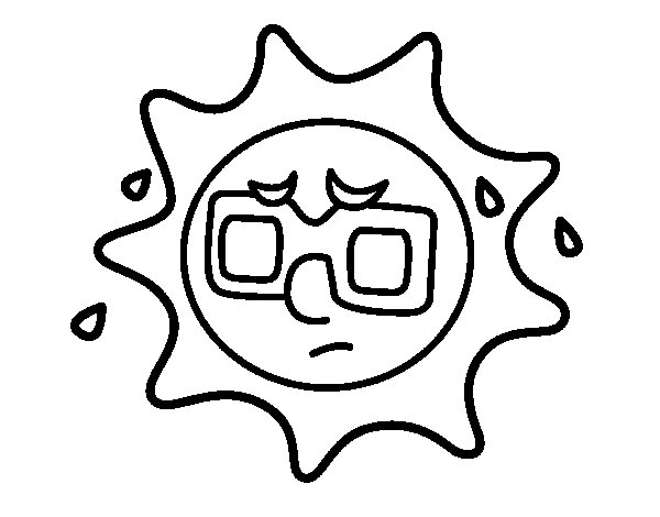 Sun with sweat coloring page