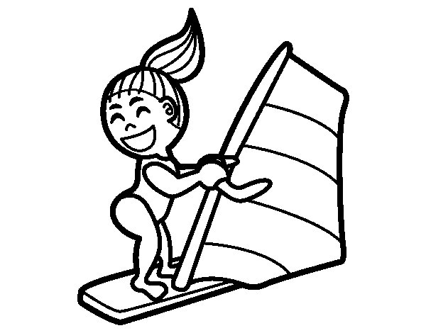 Surface water sport coloring page