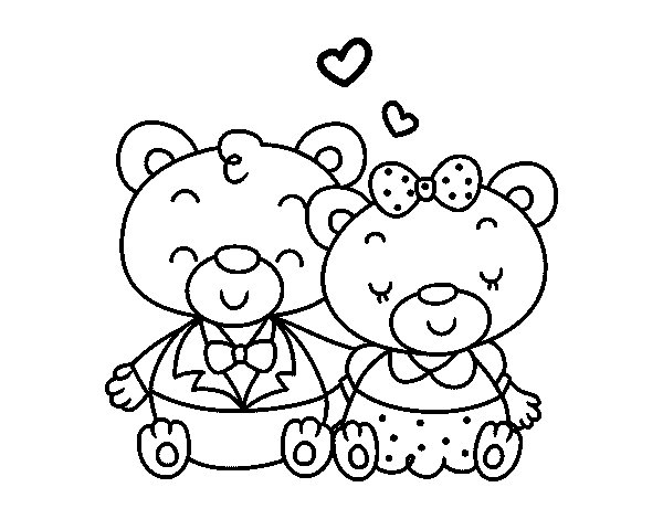 Teddy's bears in love coloring page