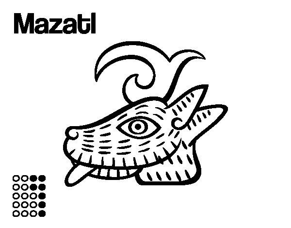 The Aztecs days: the Deer Mazatl coloring page