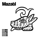 The Aztecs days: the Deer Mazatl coloring page