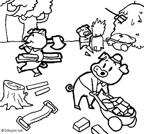 Three little pigs 1 coloring page