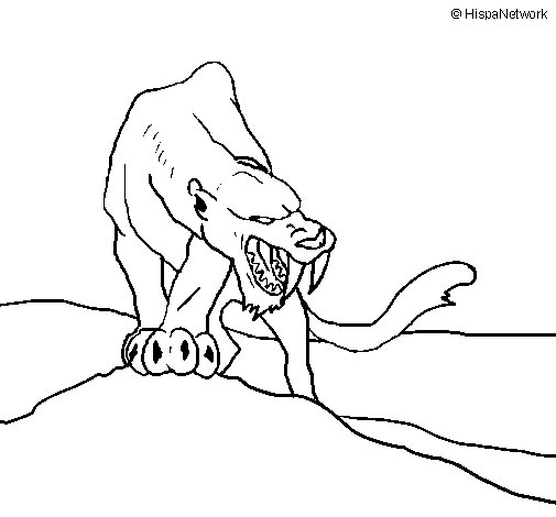 Tiger with sharp fangs coloring page